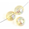 Fire polished 14mm Rich Cut Strung Transparent dyed Yellow Aurora Borealis